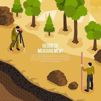 Isometrische zusammensetzung der geologenfeldarbeit mit männern, die geodätische messungen der vektorillustration der erdoberfläche vornehmen