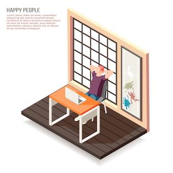 Isometrische zusammensetzung der glücklichen menschen bei der arbeit mit dem genießen des kreativen jobkunstdesigners hinter seinem laptop