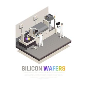 Isometrische zusammensetzung der halbleiterchipproduktion mit bearbeitbarem text und personen, die hi-tech-robotermanipulatoren-vektorillustration bedienen