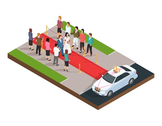 Isometrische zusammensetzung der hochzeitszeremonie mit gerade verheiratetem paar auf dem roten teppich