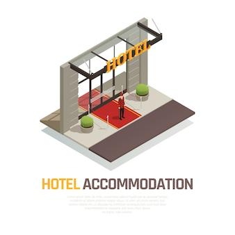 Isometrische zusammensetzung der hotelunterkunft mit dem türhüter in der uniform, die auf rotem teppich nahe eingang steht