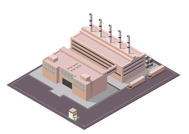 Isometrische zusammensetzung der industriegebäude mit blick auf die anlagen