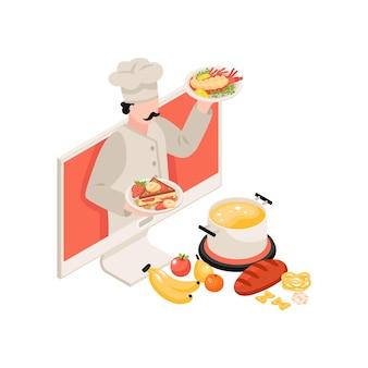 Isometrische zusammensetzung der kochschule mit köstlichen gerichtszutaten und charakter des chefs 3d