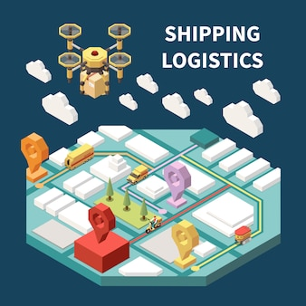 Isometrische zusammensetzung der logistik mit der modernen drohne, die paket 3d vektorillustration liefert