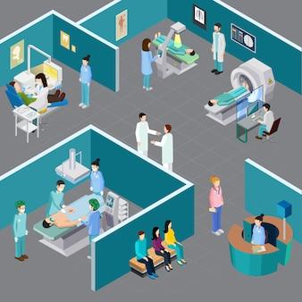 Isometrische zusammensetzung der medizinischen ausrüstung mit menschlichen charakteren von angehörigen der gesundheitsberufe und patienten in verschiedenen krankenhausräumen vektorillustration