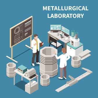 Isometrische zusammensetzung der metallindustrie mit zwei personen in der 3d-vektorillustration des metallurgischen labors