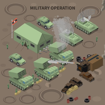Isometrische zusammensetzung der militäroperation mit zelt für soldatenradaranlage und raketenwerfer