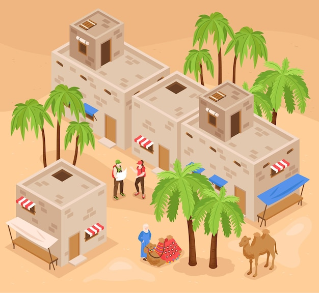 Isometrische zusammensetzung der modernen ägyptischen touristenattraktionen mit besuchern, die königstal und kamelritt erkunden