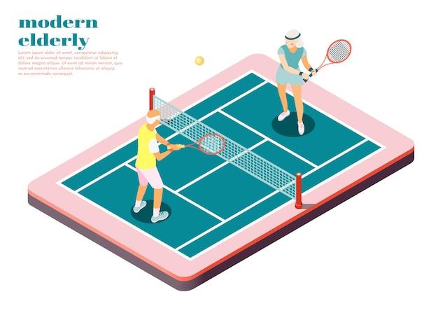 Isometrische zusammensetzung der modernen älteren leute mit männlichen und weiblichen personen, die tennis auf dem platz spielen