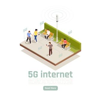 Isometrische zusammensetzung der modernen internet 5g-kommunikationstechnologie mit außenansicht von personen, die eine schnelle webverbindung verwenden