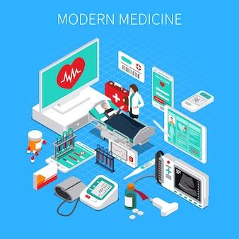 Isometrische zusammensetzung der modernen medizin mit medizinischen geräten doktors und des patienten