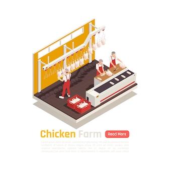 Isometrische zusammensetzung der nachhaltigen produktionskette der geflügelfarm mit schlachthauspersonal, das die verarbeitung von hühnerfleischbanner schneidet