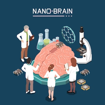 Isometrische zusammensetzung der nanobiotechnologie mit wissenschaftlichem laborpersonal, das nanomaterialien zur verbesserung der gehirnaktivität verwendet