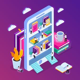 Isometrische zusammensetzung der online-bibliothek mit bild des smartphones mit bücherregalen und kleinen leuten mit wolken