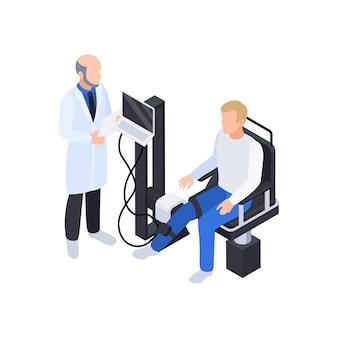 Isometrische zusammensetzung der physiotherapie-rehabilitation mit arzt, der das bein des patienten auf der illustration des elektronischen geräts untersucht