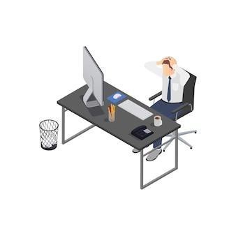 Isometrische zusammensetzung der professionellen burnout-depressionsfrustration mit dem geschäftsarbeiter, der kopf am arbeitsplatz festhält