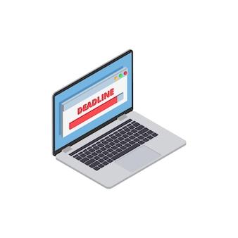 Isometrische zusammensetzung der professionellen burnout-depressionsfrustration mit isoliertem bild des laptops mit fristfortschrittsbalken