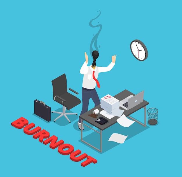 Isometrische zusammensetzung der professionellen burnout-depressionsfrustration mit text und arbeitsplatz und angestellter mit brennendem kopf