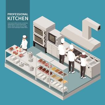 Isometrische zusammensetzung der professionellen küchengeräte mit köchen, die lebensmittel mit friteusenschneidzutaten zubereiten