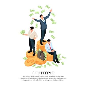 Isometrische zusammensetzung der reichen leute, die dollar-banknotenillustration streut