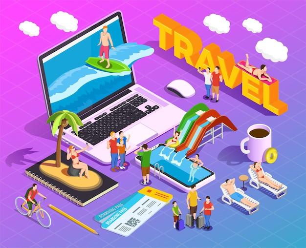 Isometrische zusammensetzung der reise auf steigungsleuten während der ferienunterhaltung auf bildschirmen von tragbaren geräten