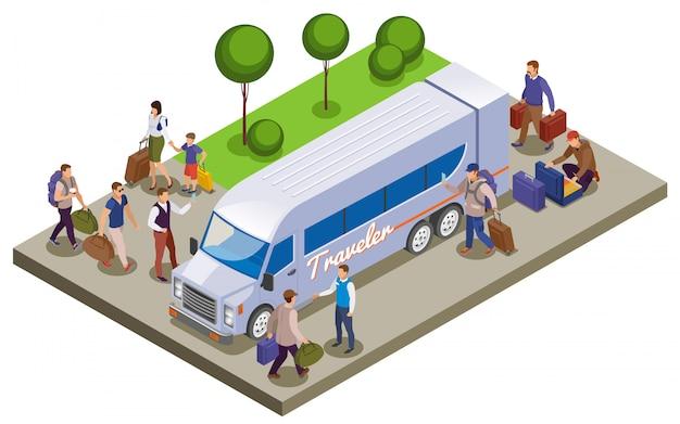 Isometrische zusammensetzung der reiseleute mit passagieren, die sich am touristenbusbahnhof zum reisen treffen