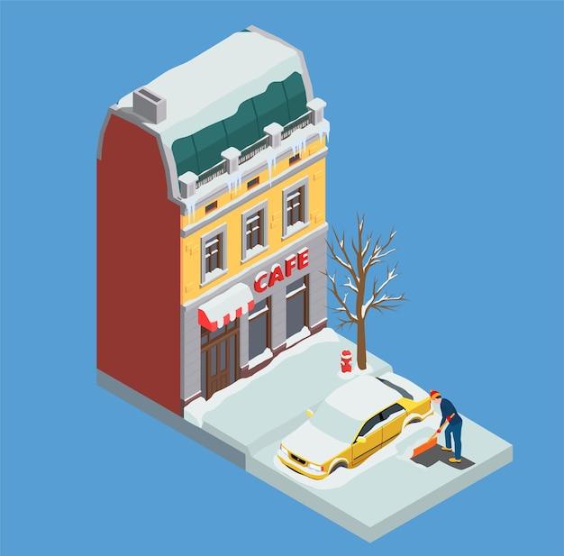 Isometrische zusammensetzung der schneereinigung mit mann, der raum um sein auto auf wohnhaus reinigt