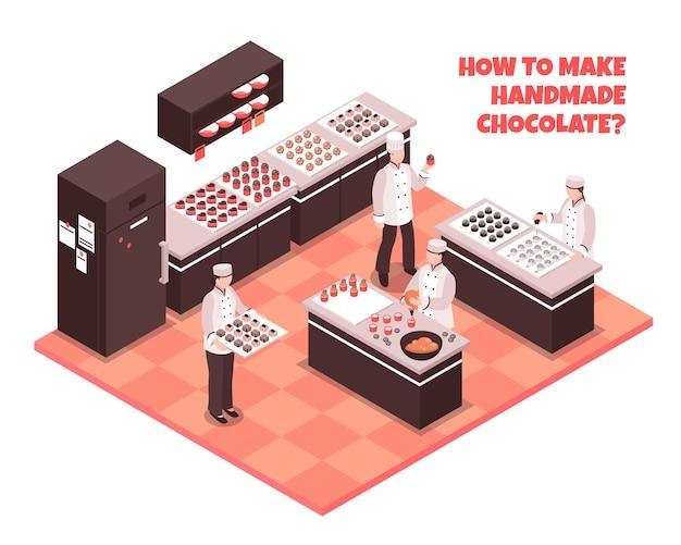 Isometrische zusammensetzung der schokoladenherstellung mit dem personal, das zeigt, wie man handgemachte schokolade macht
