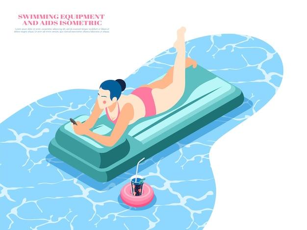 Isometrische zusammensetzung der schwimmausrüstung mit der frau, die auf der luftmatratze im pool 3d liegt