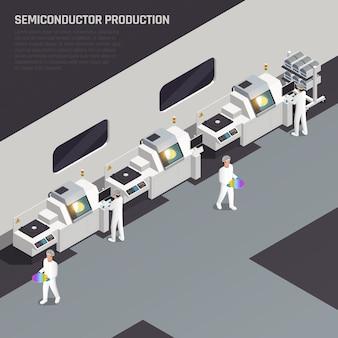 Isometrische zusammensetzung der ssemiconductor-chip-produktion mit bearbeitbarem text und high-tech-manufaktur mit zeichen der arbeitervektorillustration