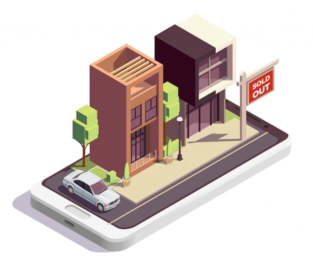Isometrische zusammensetzung der stadthausgebäude mit außenansicht von zwei modernen wohnhäusern mit ausverkauftem schild