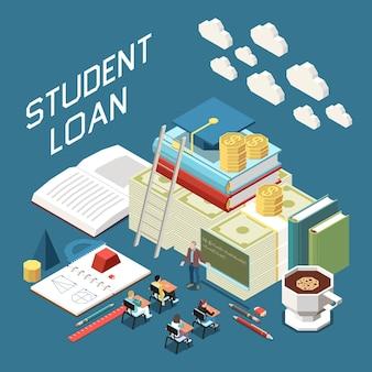 Isometrische zusammensetzung der studentenkreditpakete mit akademischer abschlusskappe für lehrbücher auf einem haufen banknoten