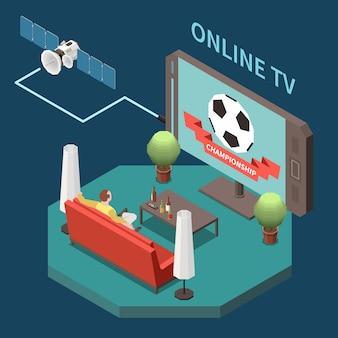 Isometrische zusammensetzung der telekommunikation mit mann, der satellitenfernsehen zu hause 3d 3d vektorillustration beobachtet