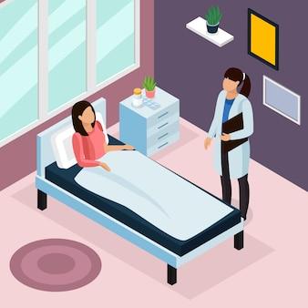 Isometrische zusammensetzung der tuberkuloseprävention mit krankenhausbehandlungsillustration