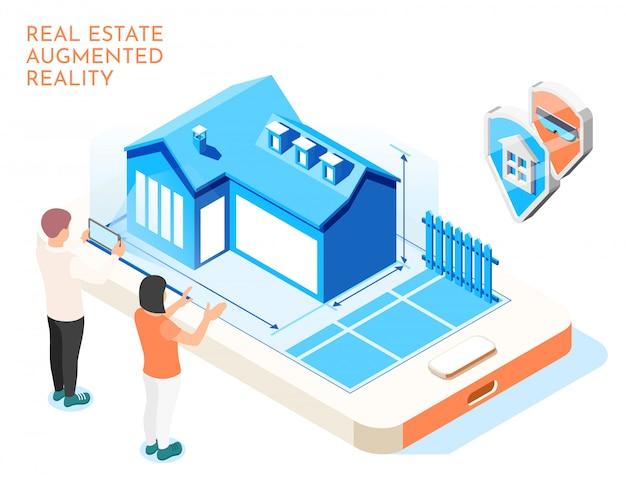 Isometrische zusammensetzung der vergrößerten realität der immobilien mit liebespaaren stellen sich ihre zukünftige lebenillustration vor
