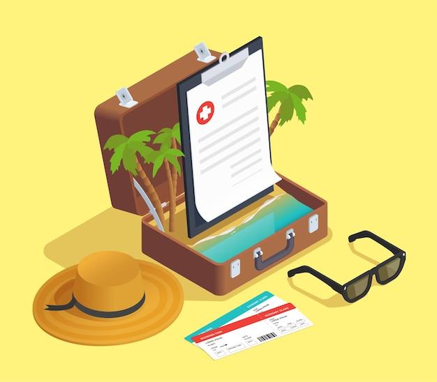 Isometrische zusammensetzung der versicherung mit flugtickets und reisekoffer mit palmen und vertrag