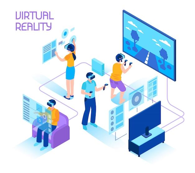 Isometrische zusammensetzung der virtuellen realität