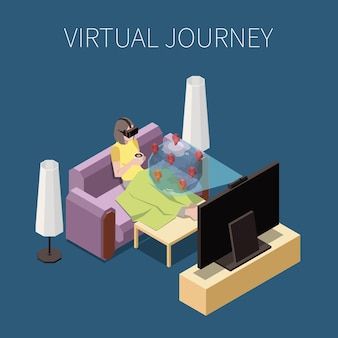 Isometrische zusammensetzung der virtuellen reise mit frau in der augmented-reality-brille, die auf sofa entspannt