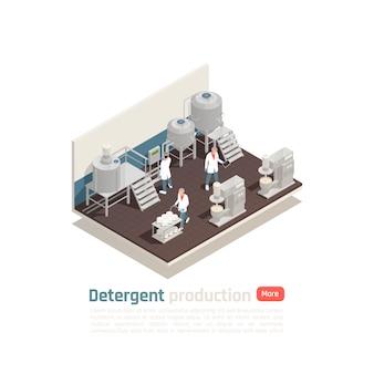 Isometrische zusammensetzung der waschmittelproduktion mit mitarbeitern in weißer uniform, die den arbeitsprozess in der kosmetikfabrik steuern