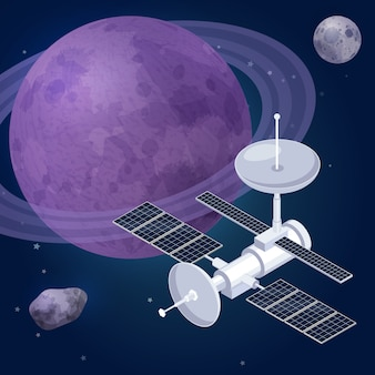 Isometrische zusammensetzung der weltraumforschung mit blick auf die sterne der weltraumplaneten und die vektorillustration des künstlichen satellitenobservatoriums