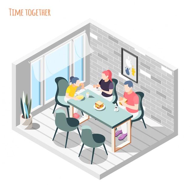 Isometrische zusammensetzung der zeit zusammen mit der familie, die zusammen in der küchenillustration sitzt und zu abend isst