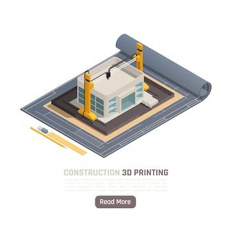 Isometrische zusammensetzung des 3d-drucks mit plan der gebäudekonstruktion