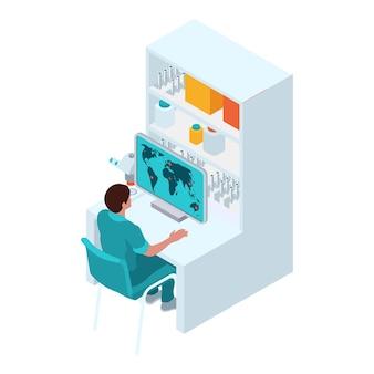 Isometrische zusammensetzung des arztes für infektionskrankheiten, virologe, mit arbeiter, der die weltkarte auf virusausbrüche überprüft