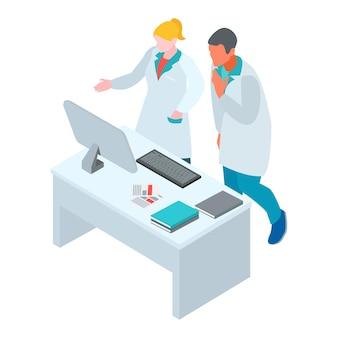 Isometrische zusammensetzung des arztes für infektionskrankheiten, virologe, mit charakteren von arbeitern in kleidern am computertisch