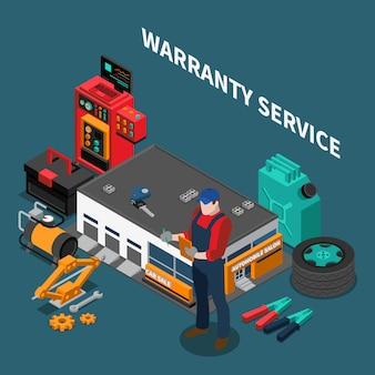 Isometrische zusammensetzung des autohauses mit garantieservicegebäude und charakter des mechanikers mit instrumenten und text