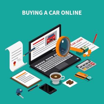 Isometrische zusammensetzung des autohauses mit text- und desktopelementen, papieren und laptop mit online-autohaus