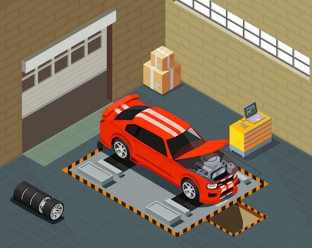 Isometrische zusammensetzung des autotunings mit dem auto am aufzug im innenraum des autoreparaturdienstes