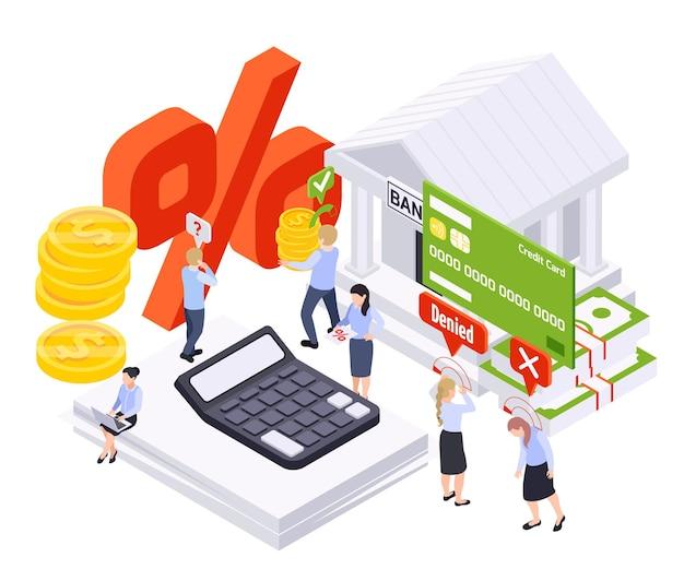 Isometrische zusammensetzung des bankdarlehens mit bankgebäude und taschenrechner mit münzen und schreibkräften