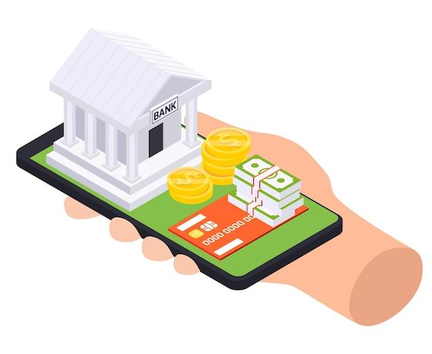 Isometrische zusammensetzung des bankdarlehens mit menschlicher hand, die smartphone mit bankgebäude und geld auf oberer illustration hält
