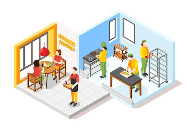 Isometrische zusammensetzung des burgerhauses mit blick auf das gästezimmer und die küche des fast-food-restaurants mit menschen